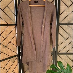 Delirious Brown, Long Sweater with Buttons, Small